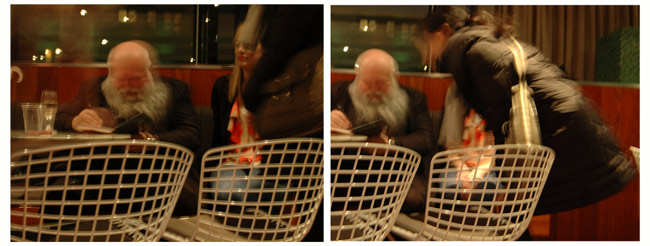Hermann Nitsch signs the catalog of his exhibition at the Museum of Contemporary Art Denver