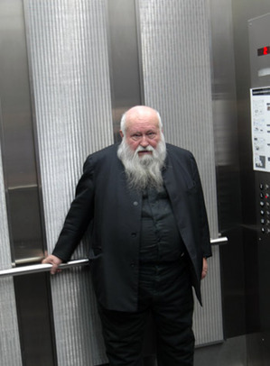 Artist Hermann Nitsch photographed by Steuart Bremner in the elevator at the Museum of Contemporary Art Denver February 24, 2011